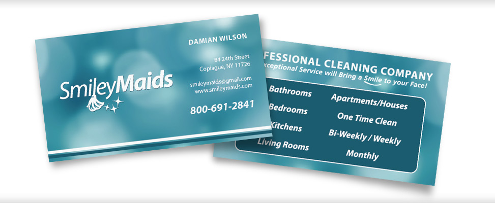 Business Card Design for Long Island Cleaning Company in Farmingdale